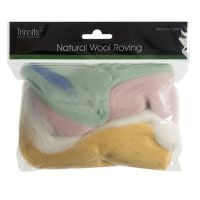 Wool Roving 50g Assorted Pastels