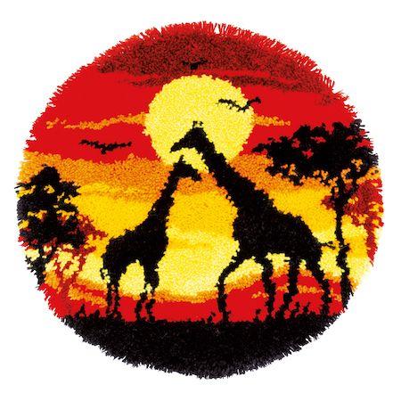 Vervaco Rug Kit Giraffes in the Sunset