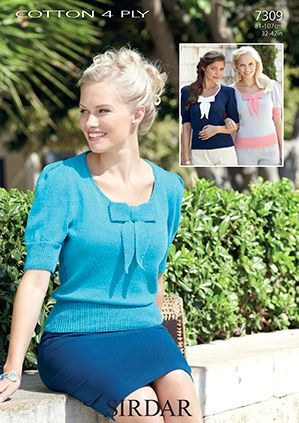 Sirdar leaflet No 7309 Cotton 4ply Tops