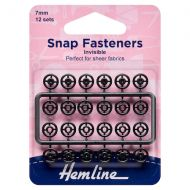 Snap Fasteners - Black (Invisible) - 7mm