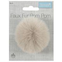 Faux Fur Pom Pom 6cm Natural