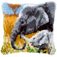 Vervaco  Elephant and BabyLatch  Hook  Cushion Kit