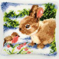 Vervaco  Rabbit withRobin Latch  Hook  Cushion Kit