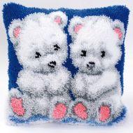 Vervaco  Polar Bear Cubs Latch  Hook  Cushion Kit