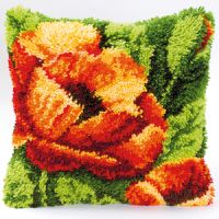 Vervaco  Poppies on Green Latch  Hook  Cushion Kit