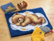 Latch Hook Kit: Rug: Sleeping Teddy on Cloud