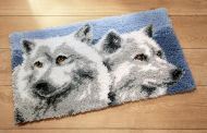 Latch Hook Kit: Rug: Grey Wolves