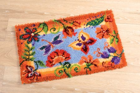 Latch Hook Rug: Flowers and Butterflies