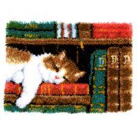 Latch Hook Kit: Rug: Cat on Bookshelf