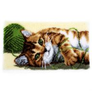 Latch Hook Kit: Rug: Playful Cat