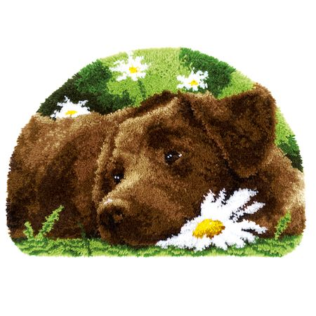 Latch Hook Rug: Chocolate Labrador