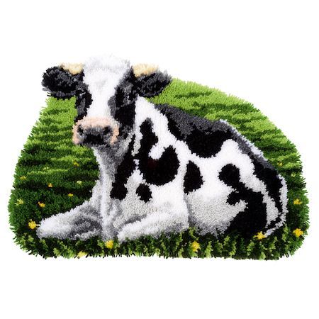 Latch Hook Kit: Rug: Shaped: Cow Resting