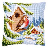 Cross Stitch Kit - Cushion - Robin in Winter
