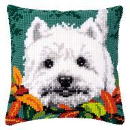 Cross Stitch Kit - Cushion - Westie Between Leaves