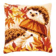Cross Stitch Kit - Cushion - Hedgehogs on Mushroom
